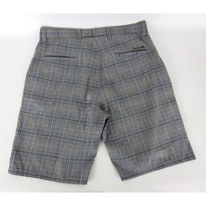 Travis Mathew Casual Golf Shorts Sz 34 Plaid Gray